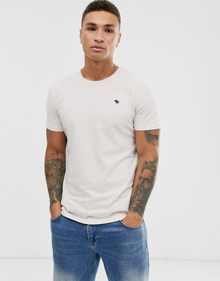 Abercrombie & Fitch icon logo crewneck t-shirt in moon beam