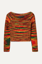 The Elder Statesman Cropped Ribbed Cashmere Sweater - Red