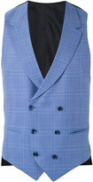 Caruso plaid double breasted waistcoat - men - Cupro/Wool - 46