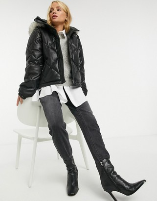 Urban Code Urbancode Jaamini quilted jacket with removable sleeves and faux-fur collar in black
