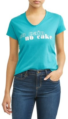 Sofia Jeans By Sofia Vergara No Pain No Cake Short Sleeve V-Neck Graphic T-Shirt Women's