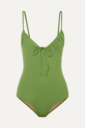 Three Graces London Cleo Ruched Swimsuit - Green