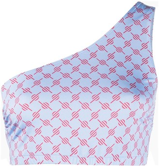 Daily Paper Geometric Print One-Shoulder Top