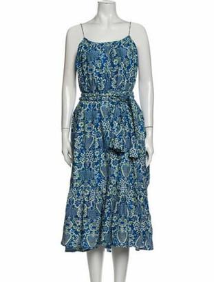 Rhode Resort Floral Print Midi Length Dress w/ Tags Blue Floral Print Midi Length Dress w/ Tags