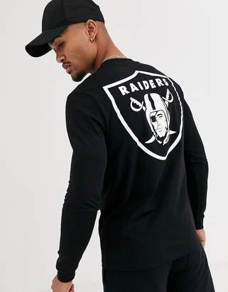 Asos Design DESIGN co-ord NFL long sleeve t-shirt with raiders back print-Black