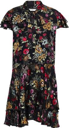 Alice + Olivia Pussy-bow Floral-print Fil Coupe Chiffon Mini Dress