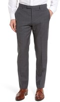 BOSS Men's Leenon Flat Front Plaid Wool Trousers