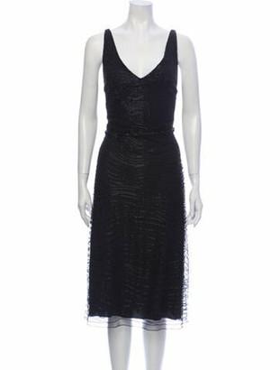 Ralph Lauren Collection V-Neck Midi Length Dress Black