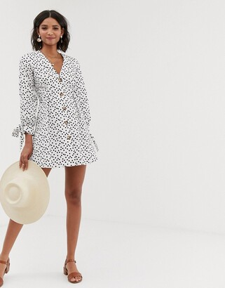 ASOS DESIGN button through mini skater dress with tie sleeves in spot