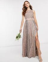 Maya Bridesmaid allover contrast tonal delicate sequin dress with satin waist in taupe blush