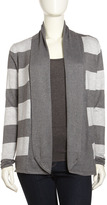 Neiman Marcus Striped Open-Front Cardigan, Charcoal/Light Heather Gray