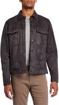 Ajmone Men's Valstarino Suede Snap-Front Jacket