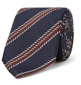 Ermenegildo Zegna 7cm Striped Silk-jacquard Tie - Navy