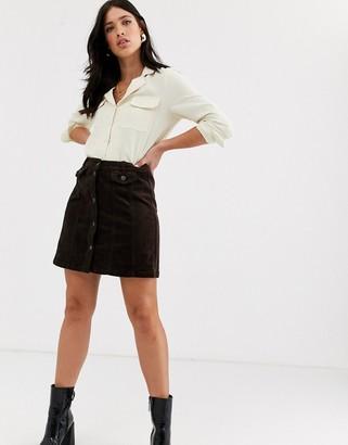Vero Moda cord mini skirt in chocolate-Brown