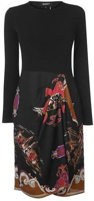 DKNY Long Sleeve Crew Neck Dress Ladies