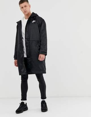 Nike fleece lined parka in black