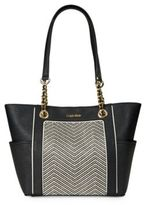 Calvin Klein Saffiano Leather and Chevron Tote