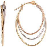 Candela 14K Tri-Color Diamond Cut Triple Hoop Earrings