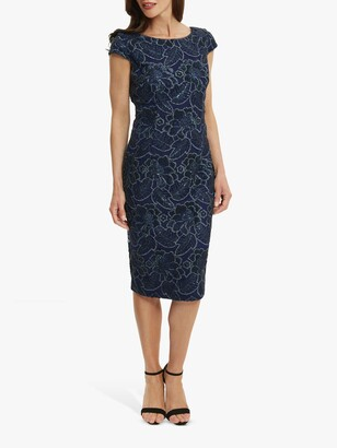 Gina Bacconi Xena Floral Lace Cocktail Dress, Navy