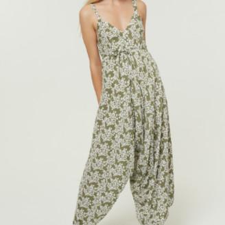 Jovonna London Green Splisse3 Wide Leg Jumpsuit - Large