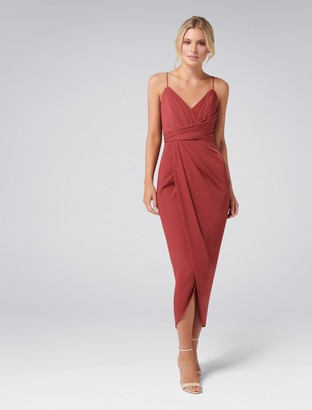 Forever New Charlotte Drape Maxi Dress - Burnt Red - 10