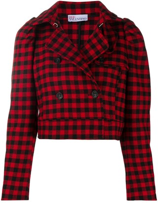 RED Valentino Gingham-Check Cropped Jacket
