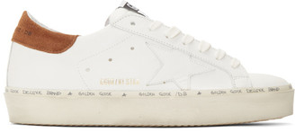 Golden Goose Off-White and Brown Hi Star Sneakers