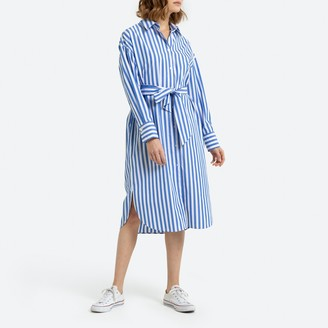 La Redoute Collections Striped Cotton Shirt Dress in Mid-Length with Long-Sleeves