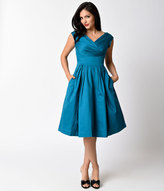 Emily And Fin 1940s Style Deep Teal Cotton Satin Cap Sleeve Florence Dress