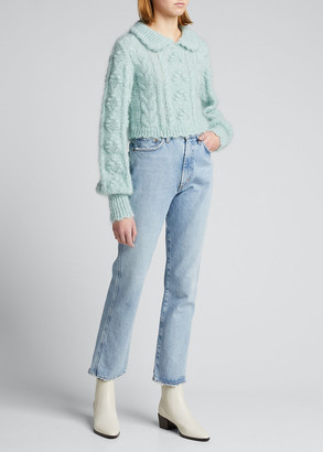LoveShackFancy Berget Cropped Collared Sweater