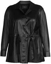 Thumbnail for your product : Lafayette 148 New York, Plus Size Connery Ruched Leather Jacket