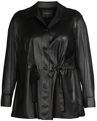 Lafayette 148 New York, Plus Size Connery Ruched Leather Jacket