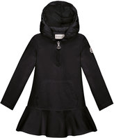 Moncler Hooded Cotton Stretch Flounce Dress, Black, Size 4-6