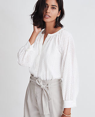 Ann Taylor Embroidered Button Blouse