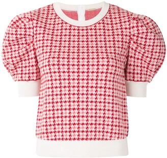 Adam Lippes Houndstooth Jacquard Knit Top