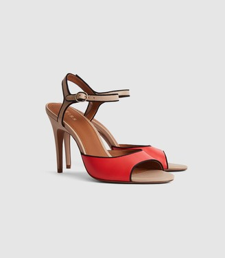 Reiss Margot - Colour Block Open Toe Sandals in Red