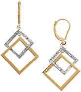 Macy's Two-Tone Rhombus Drop Earrings in 14k Gold & White Gold
