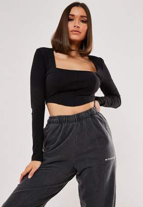 Missguided Black Panelled Crop Top