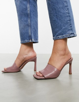 ASOS DESIGN Hattie mid-heeled mule sandals in blush lizard