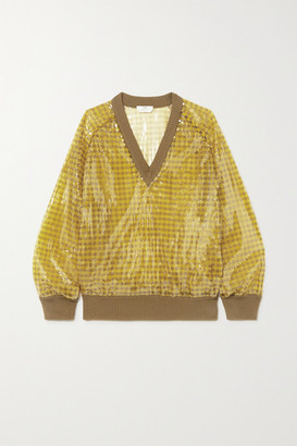 Fendi Sequined Checked Knitted Sweater - Yellow