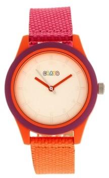 Crayo Unisex Pleasant Hot Pink, Orange Leatherette Strap Watch 39mm