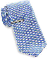 Gold Series Criss-Cross Grid Tie with Tie Bar Casual Male XL Big & Tall