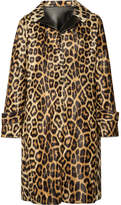 House of Fluff Faux Leather-trimmed Leopard-print Faux Fur Coat