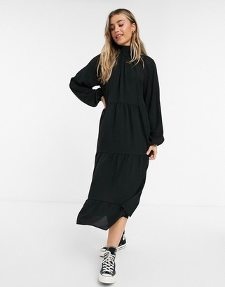 Lola May trapeze maxi dress with ruffle details in black
