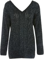 Topshop V-Neck Cable Knit Jumper