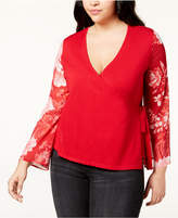 INC International Concepts I.n.c. Plus Size Printed-Sleeve Wrap Sweater, Created for Macy's