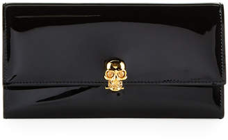 Alexander McQueen Patent Leather Skull-Clasp Continental Wallet, Black