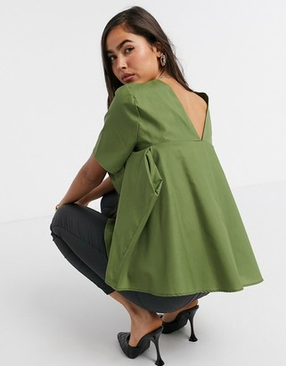 ASOS DESIGN short sleeve cotton top with pleat back detail in olive