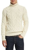Tom Ford Aran Cable-Knit Fisherman Turtleneck Sweater, Ivory