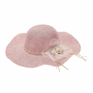 Timagebreze Summer Straw Hat Women Big Wide Brim Beach Hat Sun Hat Foldable Sun Block Uv Hat Pink